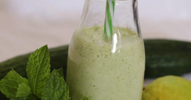 smoothie concombre menthe citron et lait d'amande