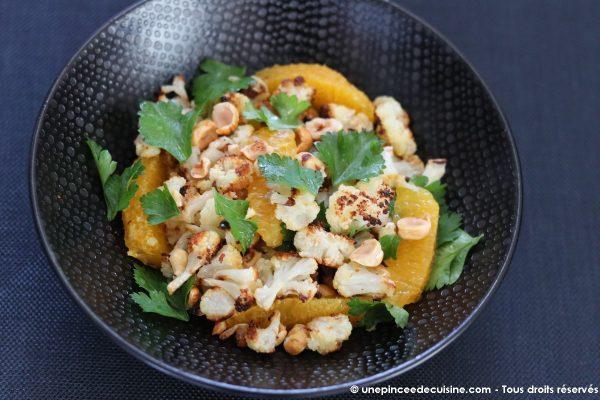 hou-fleur rôti et salade aux noisettes