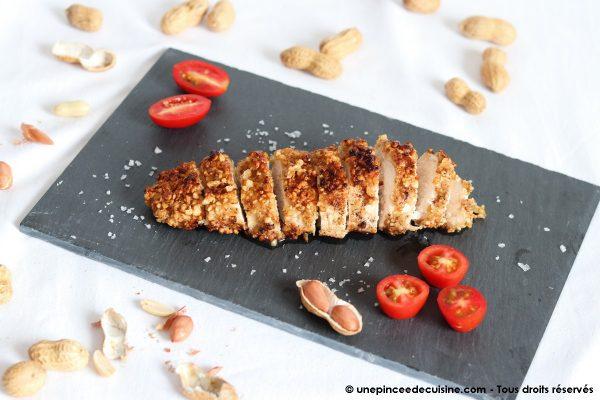 blancs de poulet panes aux cacahuetes