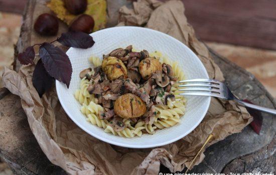 Pâtes Fusilli aux marrons champignons et lardons