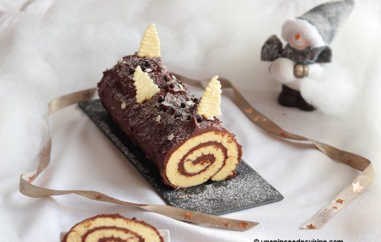 Bûche de Noël ganache au chocolat (recette rapide)