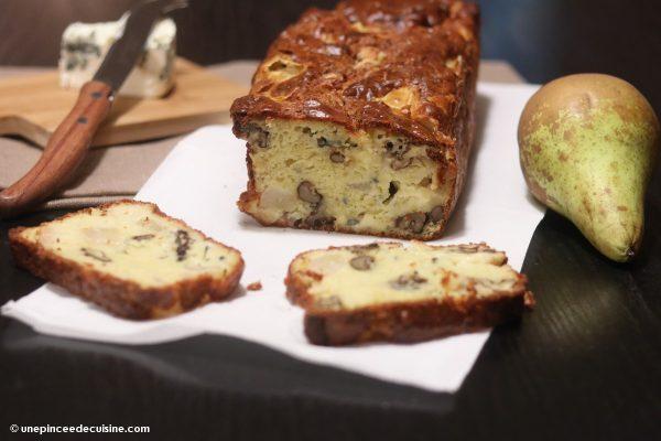 Cake fromage bleu poire et noix