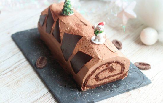 Bûche de Noël ganache montée au chocolat Valrhona (facile)