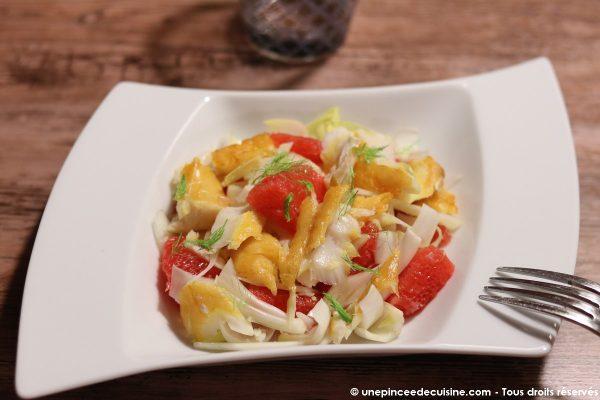 Salade de haddock fenouil endive et pamplemousse une pincee de cuisine